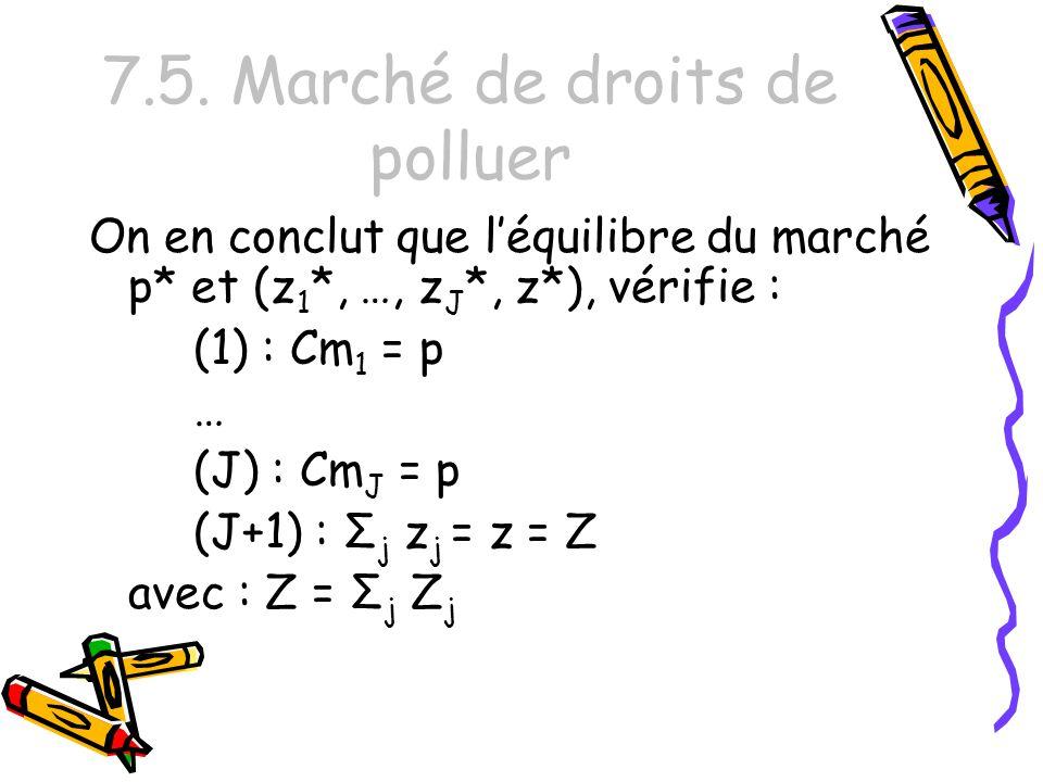7.5. Marché de droits de polluer On en conclut que léquilibre du marché p* et (z 1 *, …, z J *, z*), vérifie : (1) : Cm 1 = p … (J) : Cm J = p (J+1) :