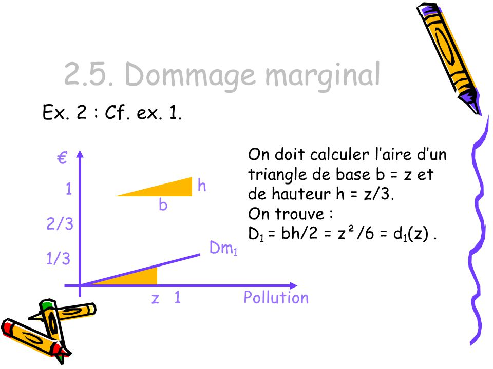2.5. Dommage marginal Ex. 2 : Cf. ex. 1. On doit calculer laire dun triangle de base b = z et de hauteur h = z/3. On trouve : D 1 = bh/2 = z²/6 = d 1