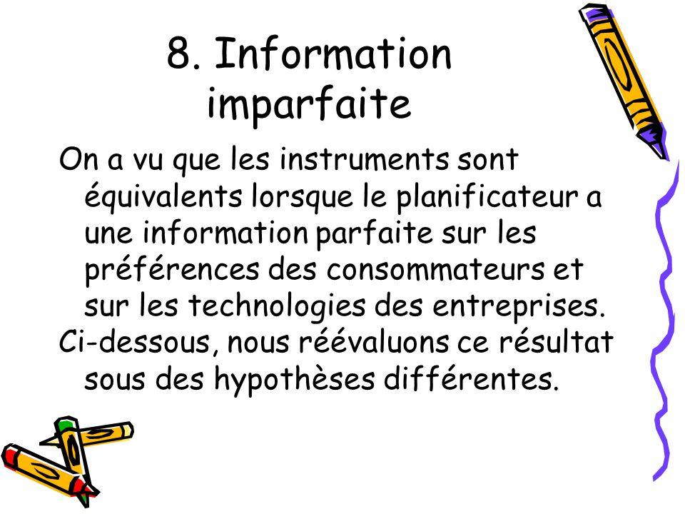 8. Information imparfaite On a vu que les instruments sont équivalents lorsque le planificateur a une information parfaite sur les préférences des con