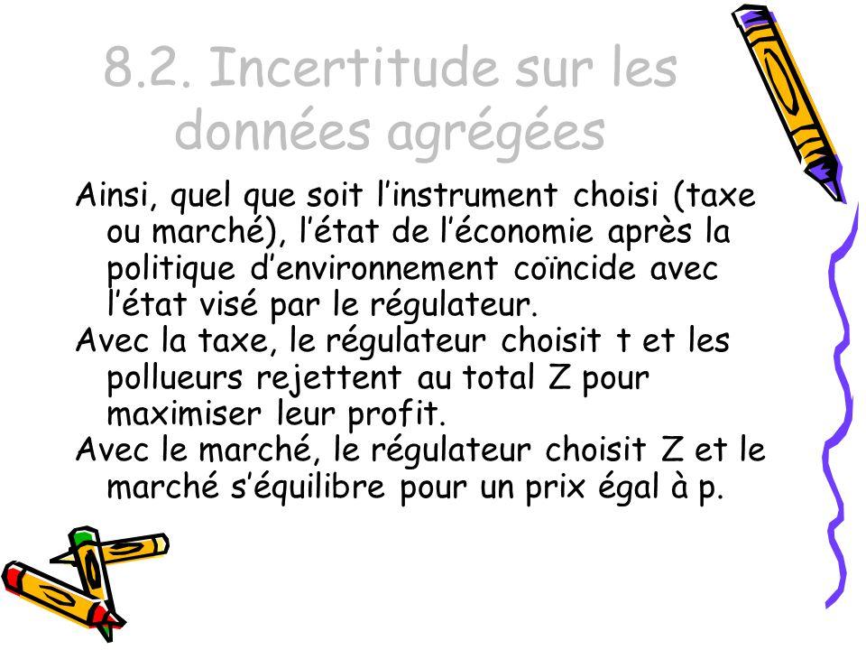 8.2. Incertitude sur les données agrégées Ainsi, quel que soit linstrument choisi (taxe ou marché), létat de léconomie après la politique denvironneme