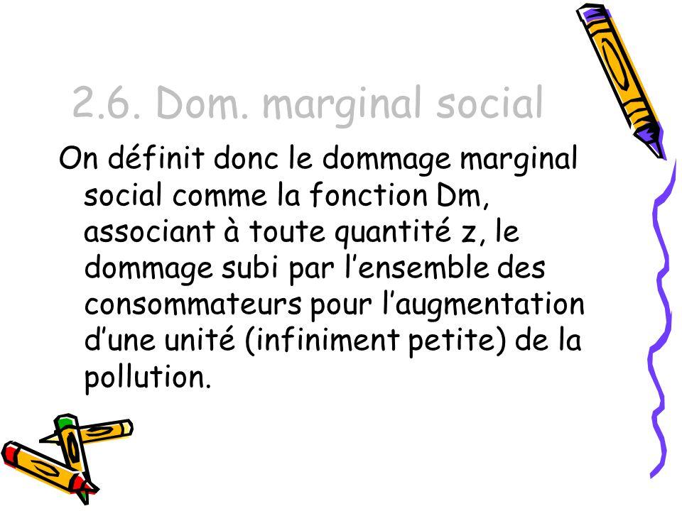 2.6. Dom. marginal social On définit donc le dommage marginal social comme la fonction Dm, associant à toute quantité z, le dommage subi par lensemble