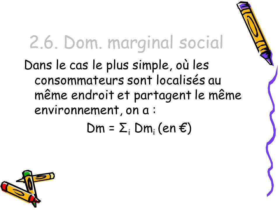 2.6. Dom. marginal social Dans le cas le plus simple, où les consommateurs sont localisés au même endroit et partagent le même environnement, on a : D