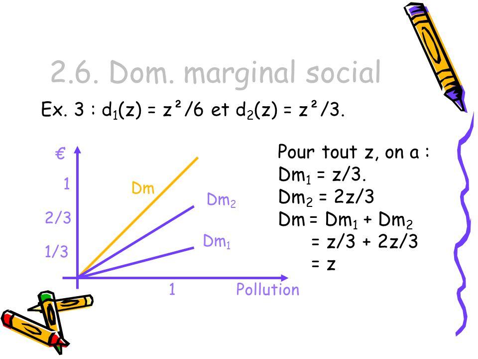 2.6. Dom. marginal social Ex. 3 : d 1 (z) = z²/6 et d 2 (z) = z²/3. Pour tout z, on a : Dm 1 = z/3. Dm 2 = 2z/3 Dm = Dm 1 + Dm 2 = z/3 + 2z/3 = z 1 1
