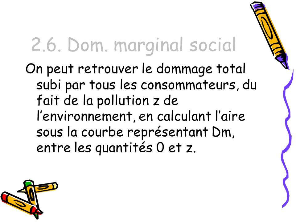 2.6. Dom. marginal social On peut retrouver le dommage total subi par tous les consommateurs, du fait de la pollution z de lenvironnement, en calculan