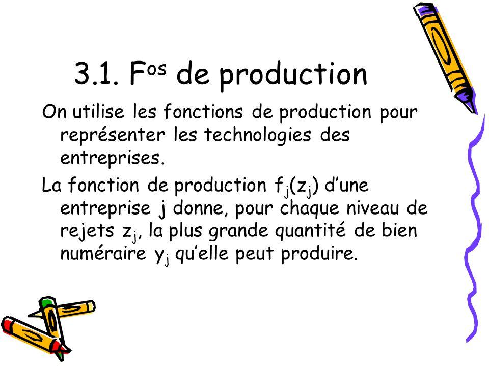 3.1. F os de production On utilise les fonctions de production pour représenter les technologies des entreprises. La fonction de production f j (z j )