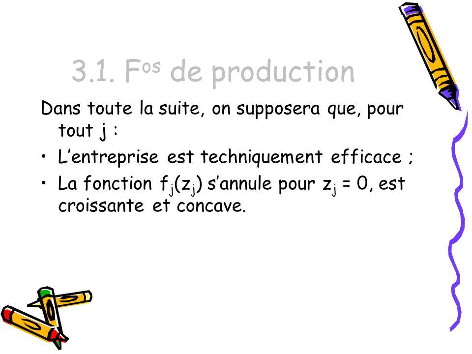 3.1. F os de production Dans toute la suite, on supposera que, pour tout j : Lentreprise est techniquement efficace ; La fonction f j (z j ) sannule p