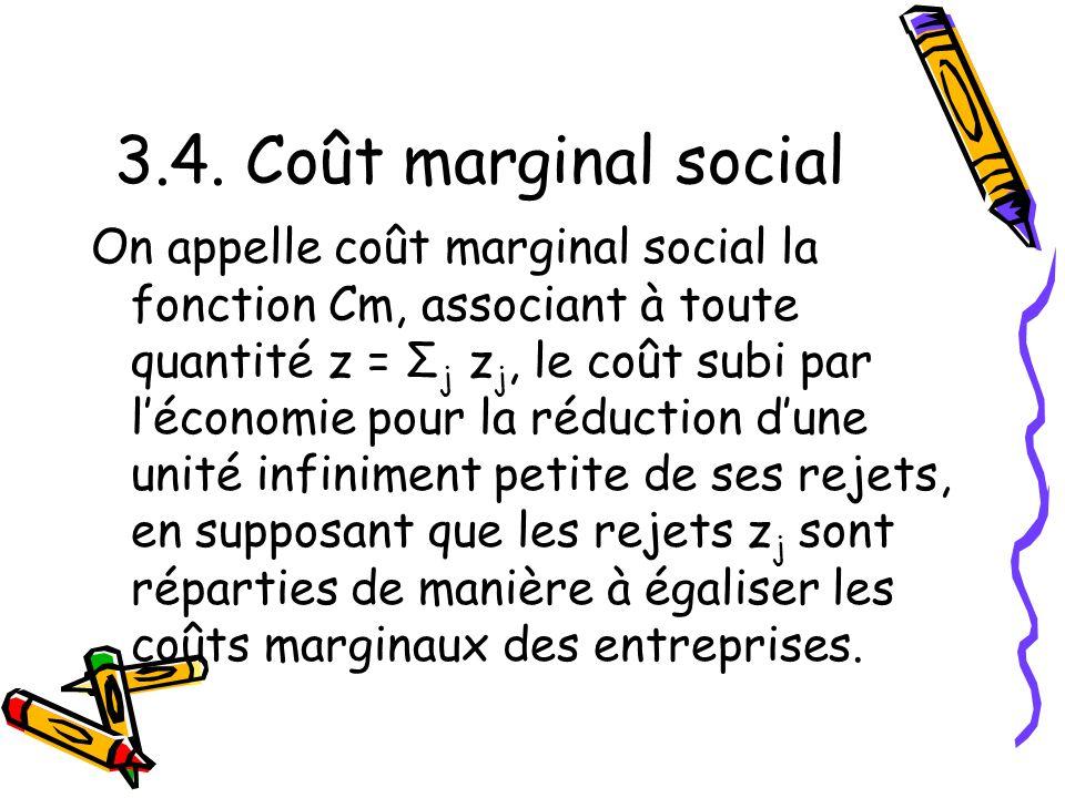 3.4. Coût marginal social On appelle coût marginal social la fonction Cm, associant à toute quantité z = Σ j z j, le coût subi par léconomie pour la r