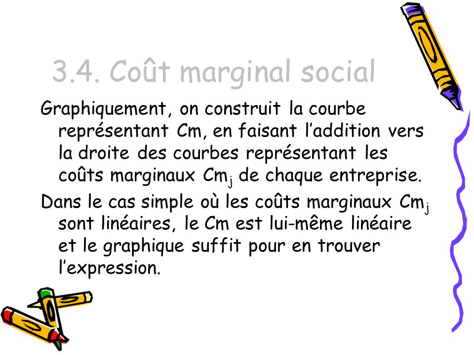 3.4. Coût marginal social Graphiquement, on construit la courbe représentant Cm, en faisant laddition vers la droite des courbes représentant les coût