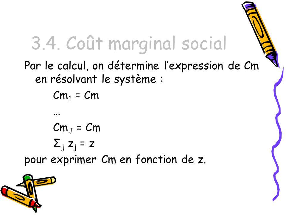 3.4. Coût marginal social Par le calcul, on détermine lexpression de Cm en résolvant le système : Cm 1 = Cm … Cm J = Cm Σ j z j = z pour exprimer Cm e