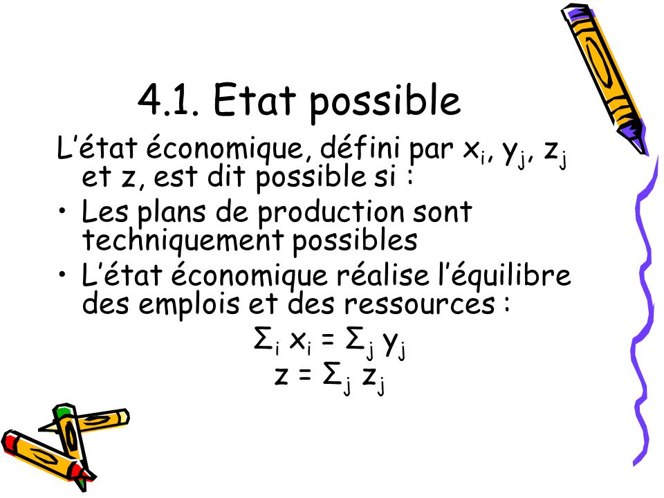 4.1. Etat possible Létat économique, défini par x i, y j, z j et z, est dit possible si : Les plans de production sont techniquement possibles Létat é