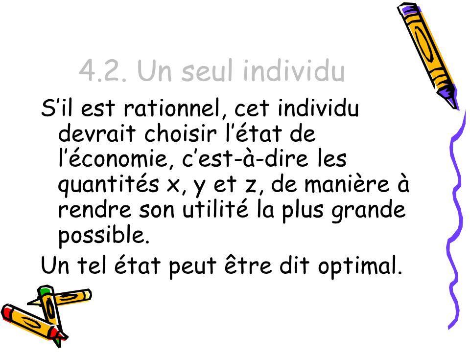 4.2. Un seul individu Sil est rationnel, cet individu devrait choisir létat de léconomie, cest-à-dire les quantités x, y et z, de manière à rendre son