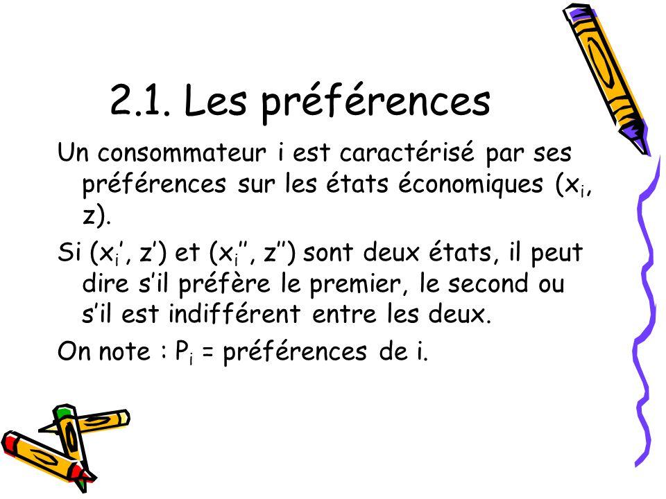 2.1. Les préférences Un consommateur i est caractérisé par ses préférences sur les états économiques (x i, z). Si (x i, z) et (x i, z) sont deux états