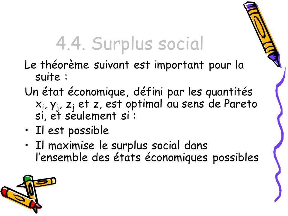 4.4. Surplus social Le théorème suivant est important pour la suite : Un état économique, défini par les quantités x i, y j, z j et z, est optimal au