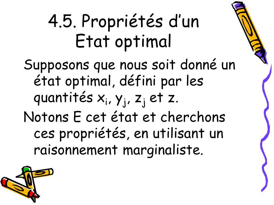 4.5. Propriétés dun Etat optimal Supposons que nous soit donné un état optimal, défini par les quantités x i, y j, z j et z. Notons E cet état et cher