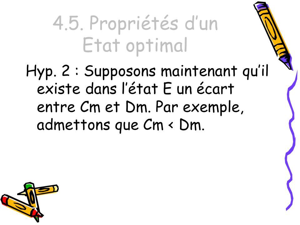4.5. Propriétés dun Etat optimal Hyp. 2 : Supposons maintenant quil existe dans létat E un écart entre Cm et Dm. Par exemple, admettons que Cm < Dm.