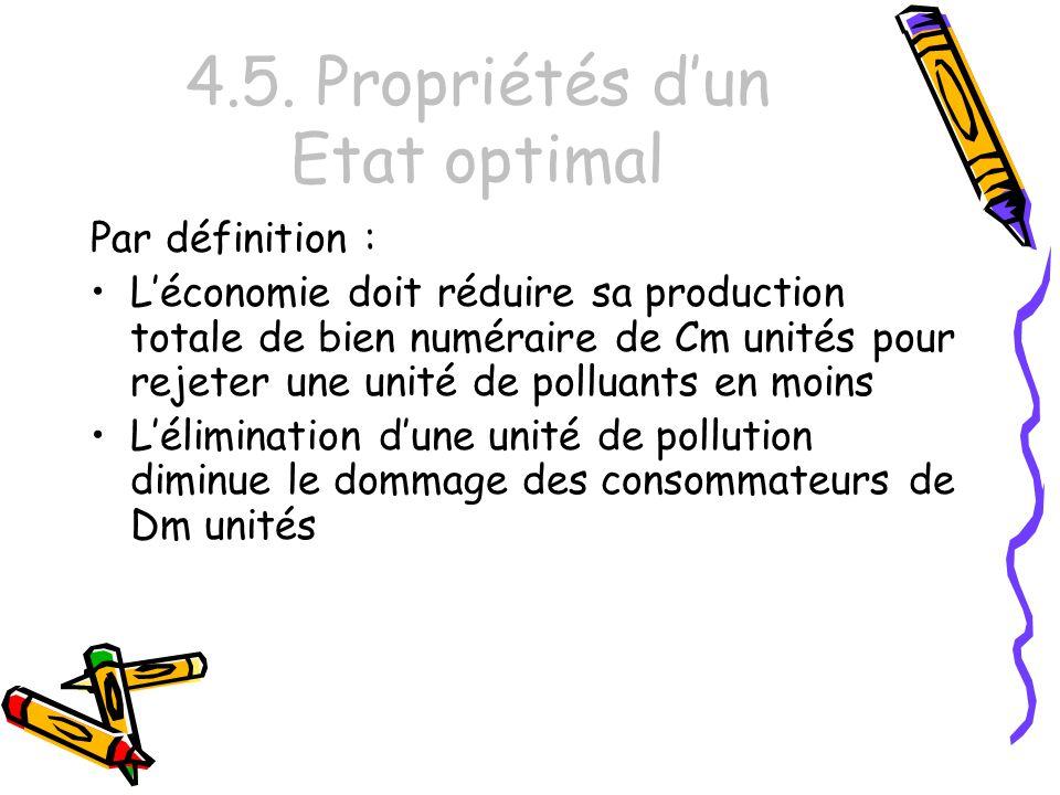 4.5. Propriétés dun Etat optimal Par définition : Léconomie doit réduire sa production totale de bien numéraire de Cm unités pour rejeter une unité de