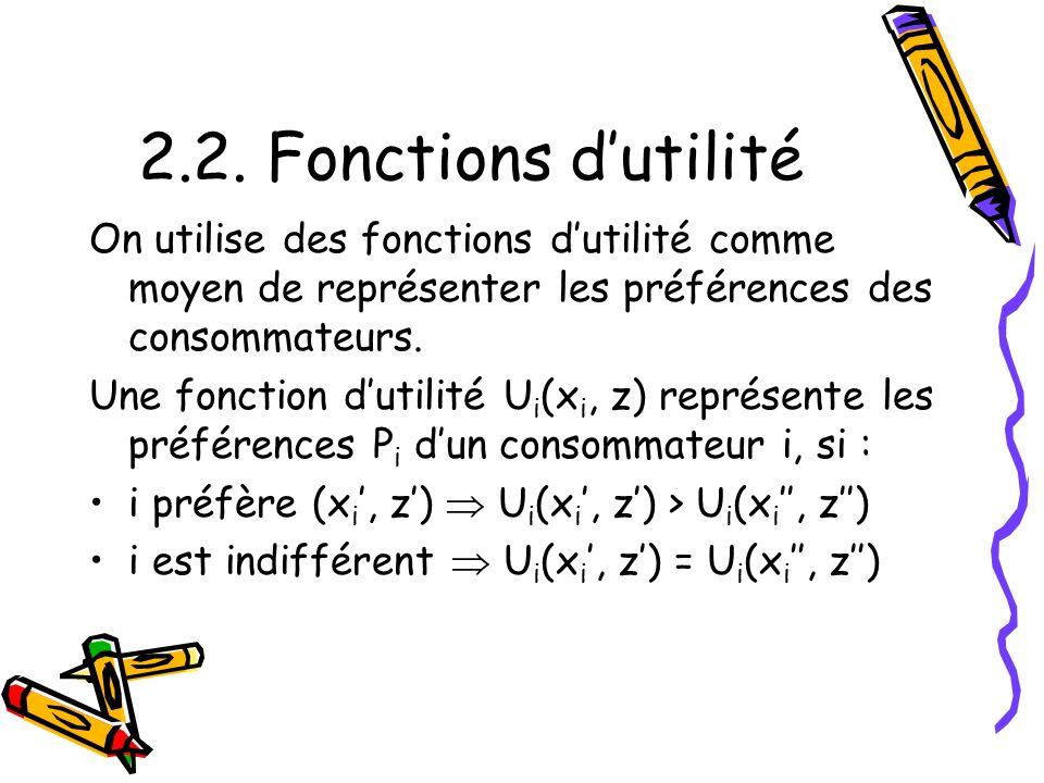 2.2. Fonctions dutilité On utilise des fonctions dutilité comme moyen de représenter les préférences des consommateurs. Une fonction dutilité U i (x i