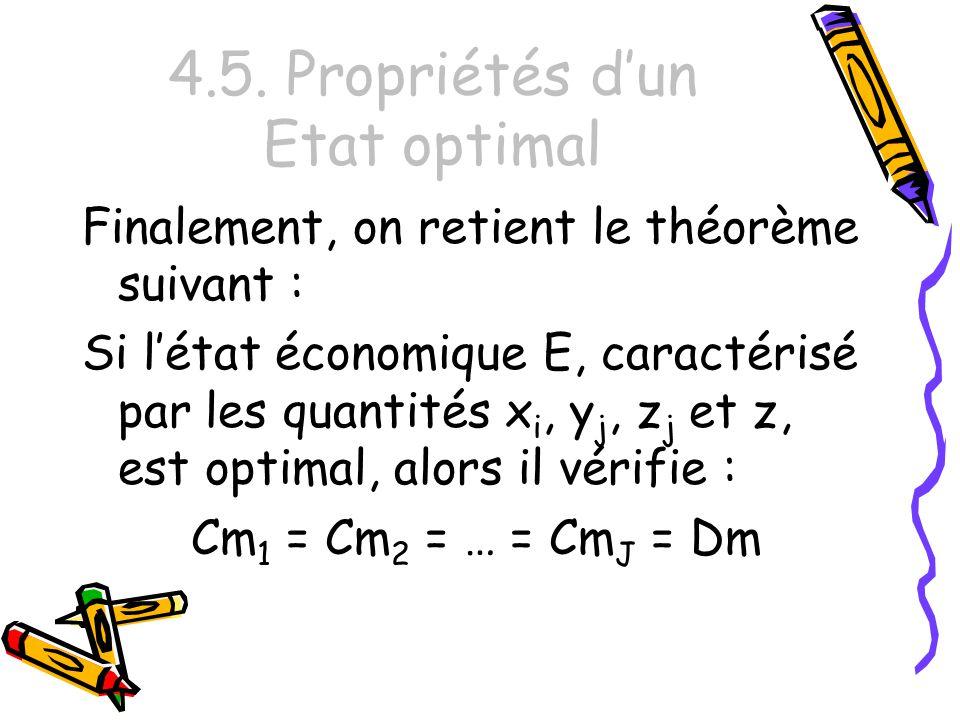 4.5. Propriétés dun Etat optimal Finalement, on retient le théorème suivant : Si létat économique E, caractérisé par les quantités x i, y j, z j et z,