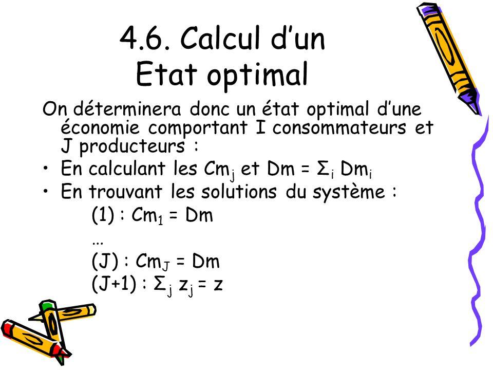 4.6. Calcul dun Etat optimal On déterminera donc un état optimal dune économie comportant I consommateurs et J producteurs : En calculant les Cm j et