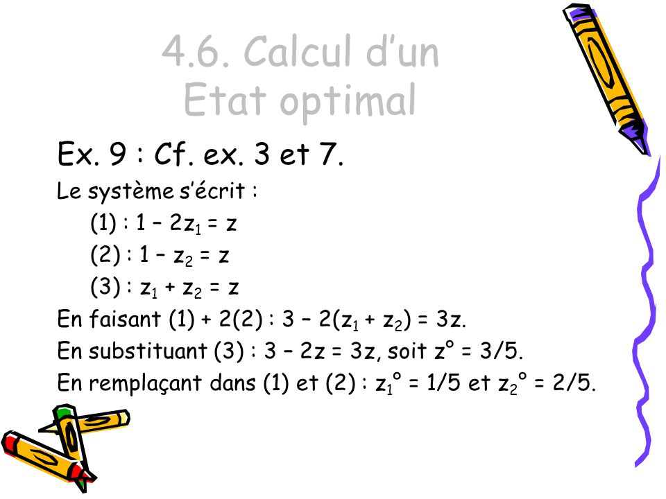 4.6. Calcul dun Etat optimal Ex. 9 : Cf. ex. 3 et 7. Le système sécrit : (1) : 1 – 2z 1 = z (2) : 1 – z 2 = z (3) : z 1 + z 2 = z En faisant (1) + 2(2