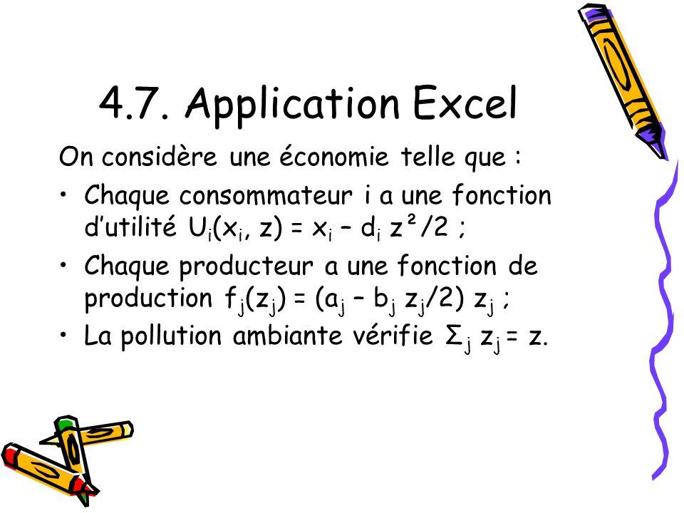 4.7. Application Excel On considère une économie telle que : Chaque consommateur i a une fonction dutilité U i (x i, z) = x i – d i z²/2 ; Chaque prod
