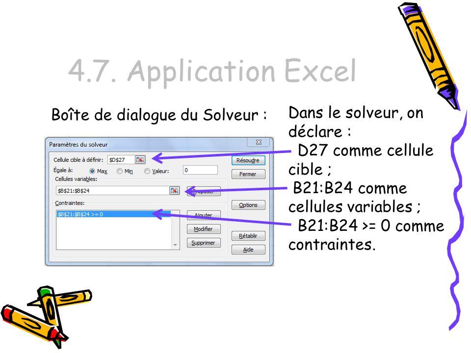 4.7. Application Excel Dans le solveur, on déclare : D27 comme cellule cible ; B21:B24 comme cellules variables ; B21:B24 >= 0 comme contraintes. Boît