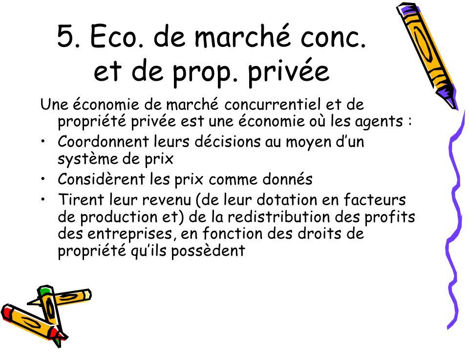 5. Eco. de marché conc. et de prop. privée Une économie de marché concurrentiel et de propriété privée est une économie où les agents : Coordonnent le