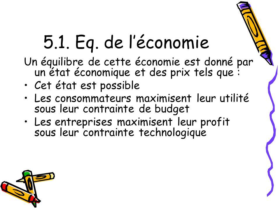5.1. Eq. de léconomie Un équilibre de cette économie est donné par un état économique et des prix tels que : Cet état est possible Les consommateurs m