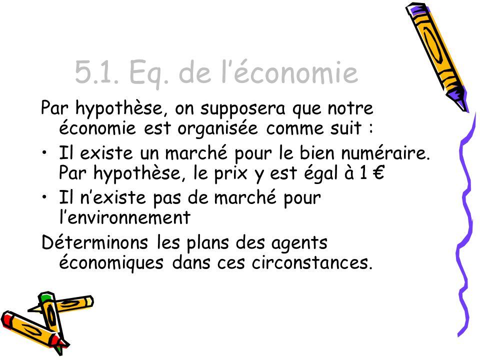 5.1. Eq. de léconomie Par hypothèse, on supposera que notre économie est organisée comme suit : Il existe un marché pour le bien numéraire. Par hypoth