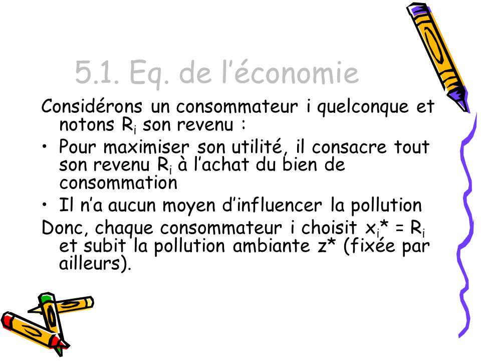 5.1. Eq. de léconomie Considérons un consommateur i quelconque et notons R i son revenu : Pour maximiser son utilité, il consacre tout son revenu R i
