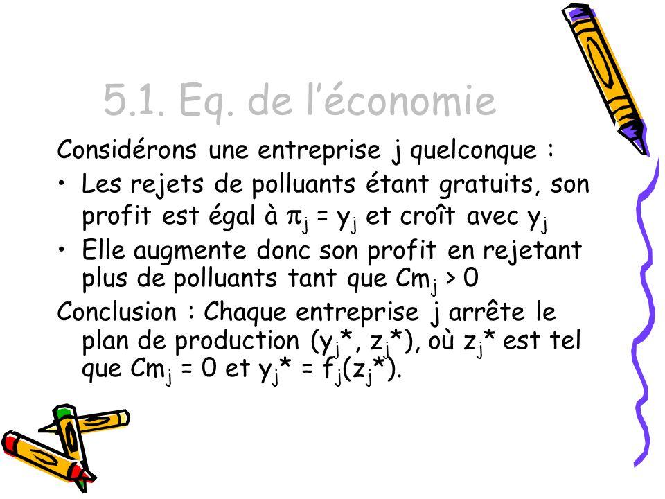 5.1. Eq. de léconomie Considérons une entreprise j quelconque : Les rejets de polluants étant gratuits, son profit est égal à j = y j et croît avec y