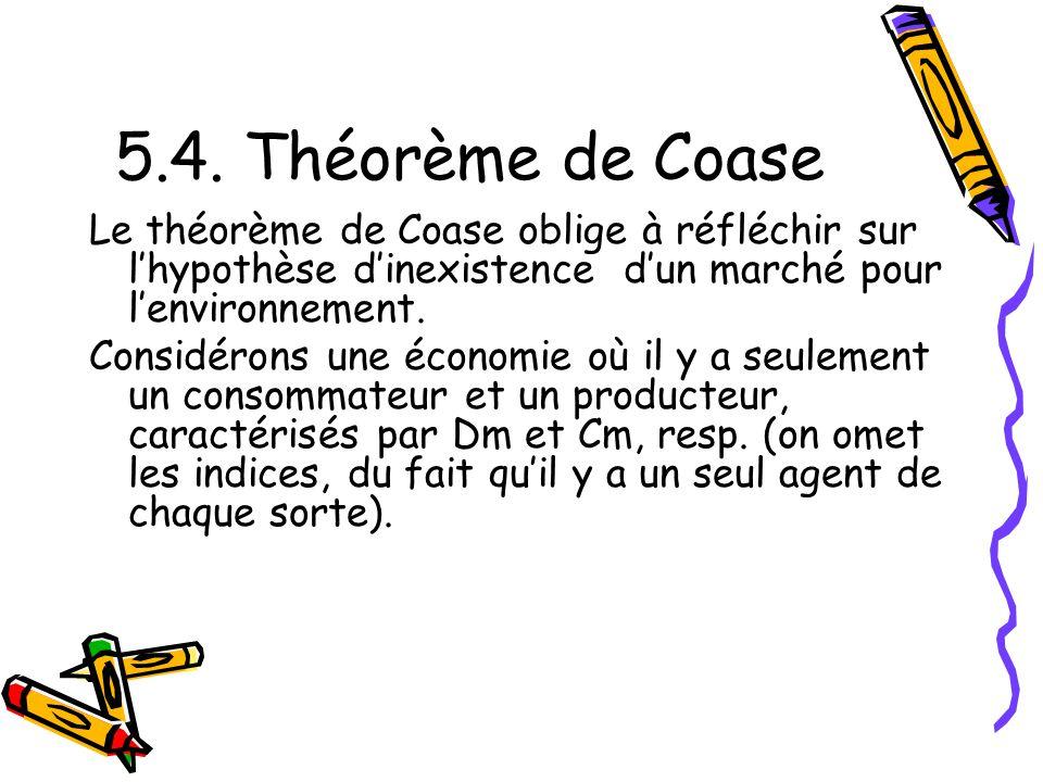 5.4. Théorème de Coase Le théorème de Coase oblige à réfléchir sur lhypothèse dinexistence dun marché pour lenvironnement. Considérons une économie où