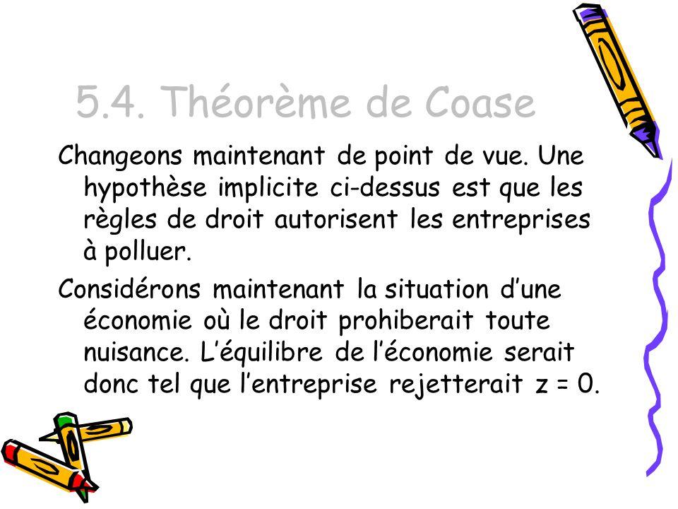 5.4. Théorème de Coase Changeons maintenant de point de vue. Une hypothèse implicite ci-dessus est que les règles de droit autorisent les entreprises