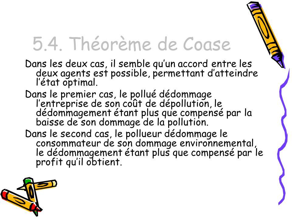 5.4. Théorème de Coase Dans les deux cas, il semble quun accord entre les deux agents est possible, permettant datteindre létat optimal. Dans le premi
