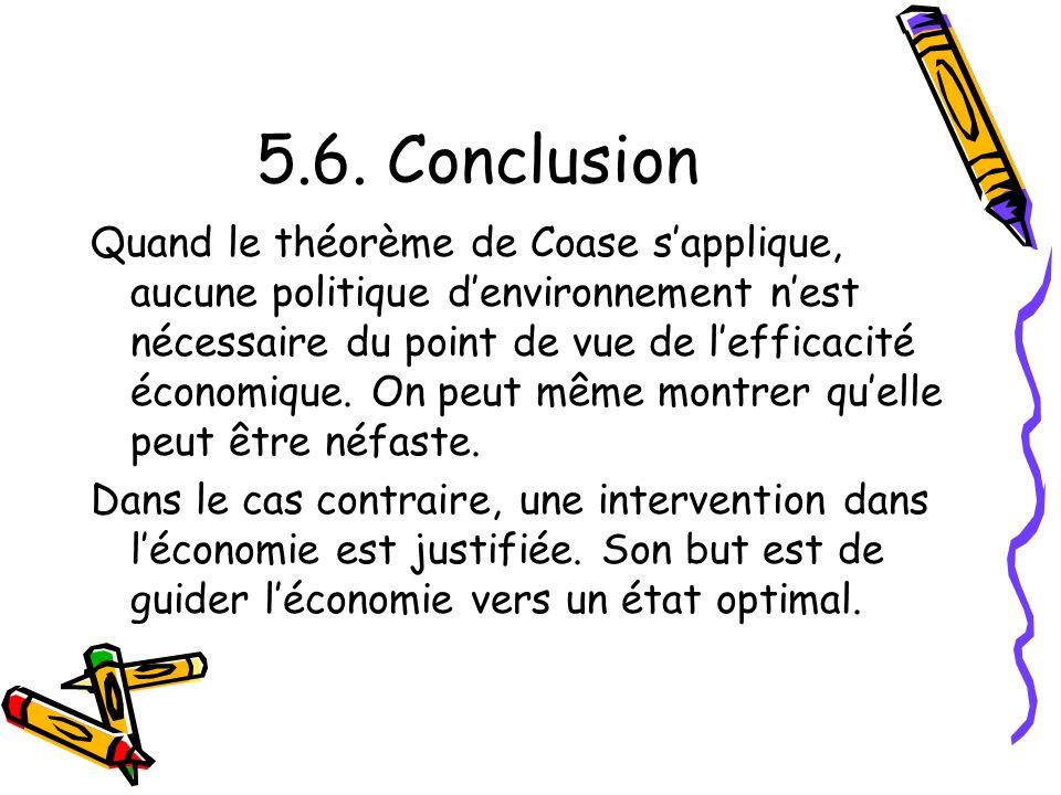 5.6. Conclusion Quand le théorème de Coase sapplique, aucune politique denvironnement nest nécessaire du point de vue de lefficacité économique. On pe