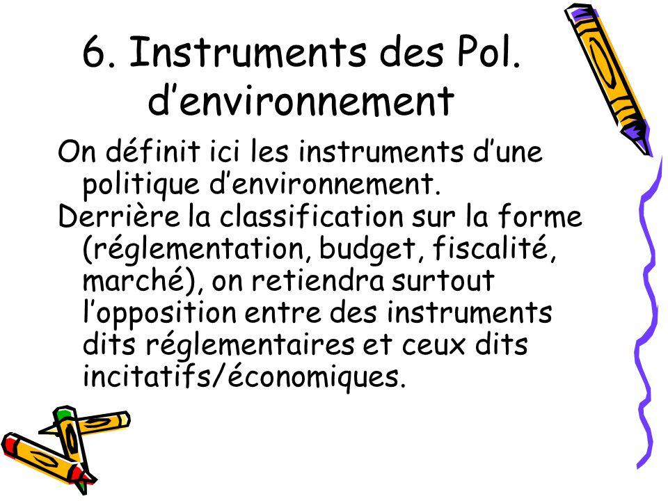 6. Instruments des Pol. denvironnement On définit ici les instruments dune politique denvironnement. Derrière la classification sur la forme (réglemen