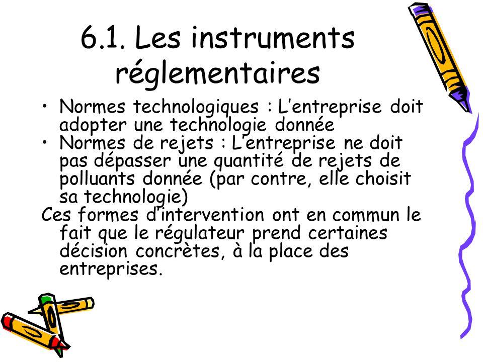 6.1. Les instruments réglementaires Normes technologiques : Lentreprise doit adopter une technologie donnée Normes de rejets : Lentreprise ne doit pas