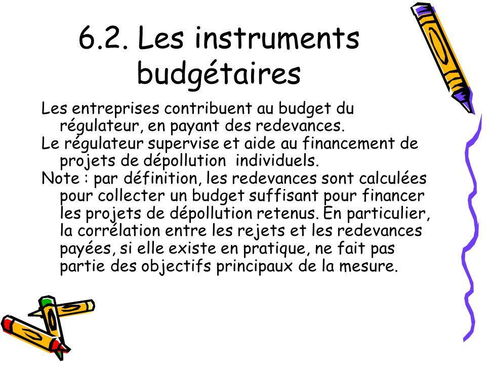 6.2. Les instruments budgétaires Les entreprises contribuent au budget du régulateur, en payant des redevances. Le régulateur supervise et aide au fin
