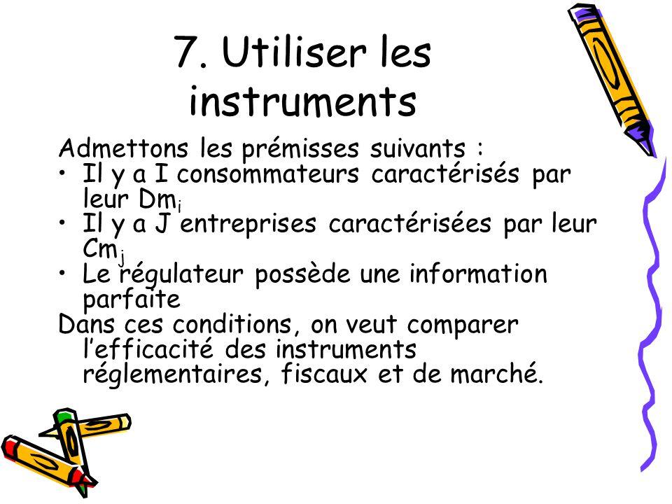 7. Utiliser les instruments Admettons les prémisses suivants : Il y a I consommateurs caractérisés par leur Dm i Il y a J entreprises caractérisées pa