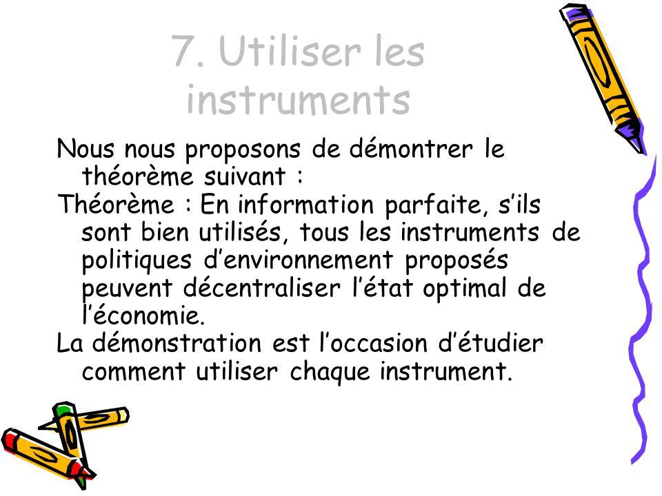7. Utiliser les instruments Nous nous proposons de démontrer le théorème suivant : Théorème : En information parfaite, sils sont bien utilisés, tous l