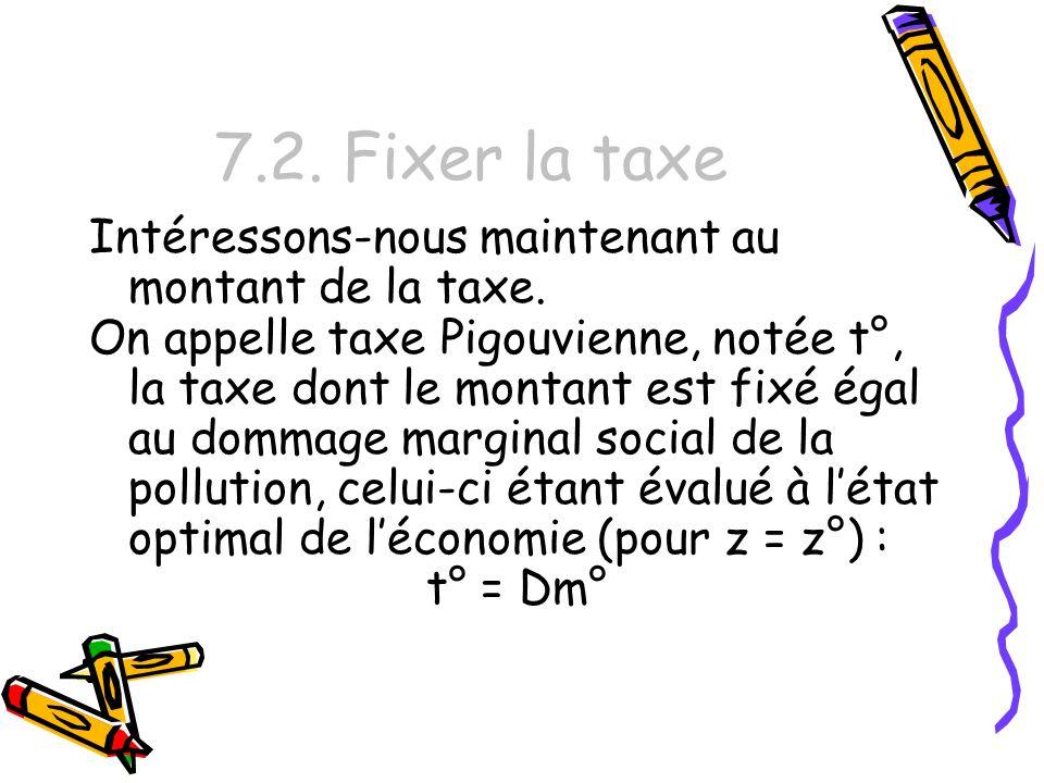 7.2. Fixer la taxe Intéressons-nous maintenant au montant de la taxe. On appelle taxe Pigouvienne, notée t°, la taxe dont le montant est fixé égal au