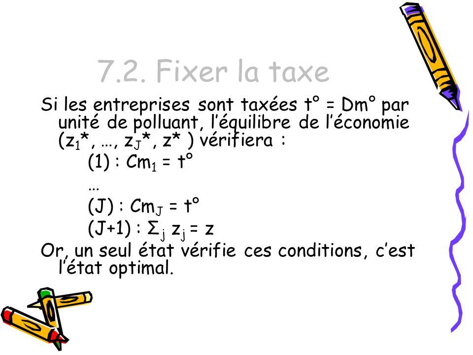 7.2. Fixer la taxe Si les entreprises sont taxées t° = Dm° par unité de polluant, léquilibre de léconomie (z 1 *, …, z J *, z* ) vérifiera : (1) : Cm