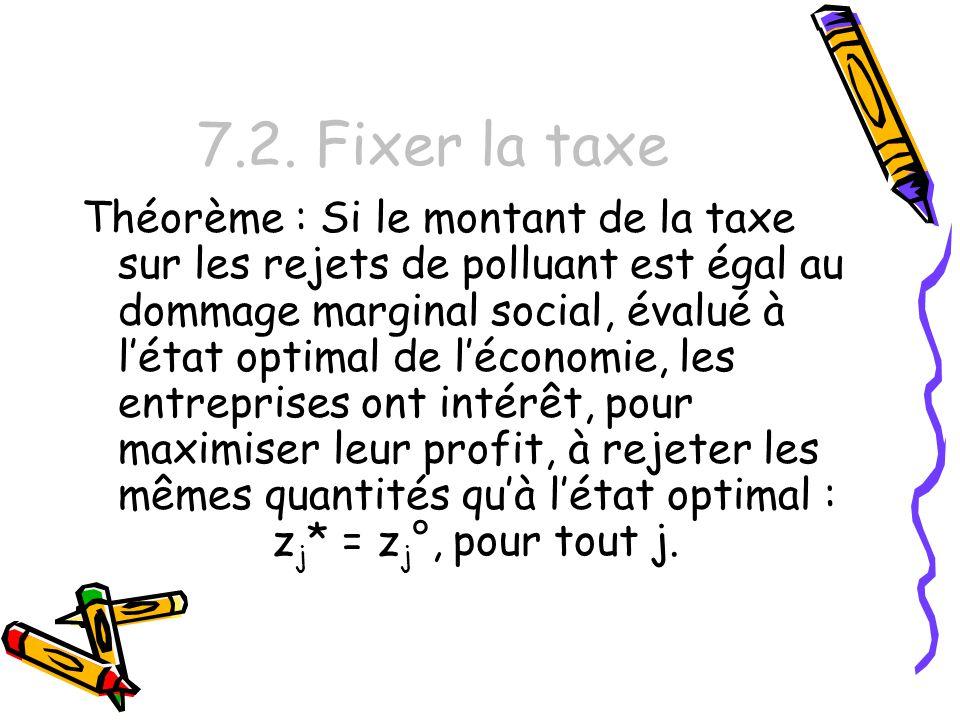 7.2. Fixer la taxe Théorème : Si le montant de la taxe sur les rejets de polluant est égal au dommage marginal social, évalué à létat optimal de lécon