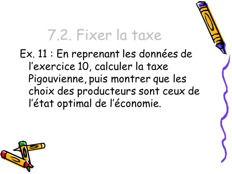 7.2. Fixer la taxe Ex. 11 : En reprenant les données de lexercice 10, calculer la taxe Pigouvienne, puis montrer que les choix des producteurs sont ce
