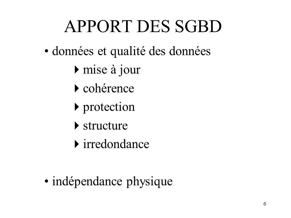 6 APPORT DES SGBD données et qualité des données mise à jour cohérence protection structure irredondance indépendance physique