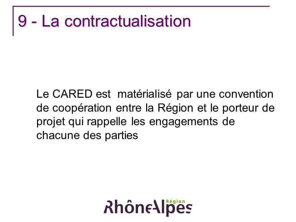9 - La contractualisation Le CARED est matérialisé par une convention de coopération entre la Région et le porteur de projet qui rappelle les engageme