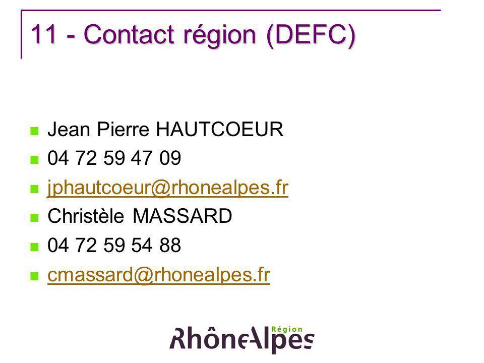 11 - Contact région (DEFC) Jean Pierre HAUTCOEUR 04 72 59 47 09 jphautcoeur@rhonealpes.fr Christèle MASSARD 04 72 59 54 88 cmassard@rhonealpes.fr