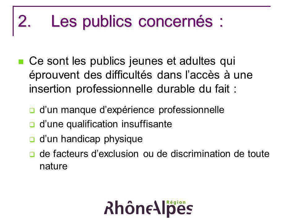 2.Les publics concernés : Ce sont les publics jeunes et adultes qui éprouvent des difficultés dans laccès à une insertion professionnelle durable du f