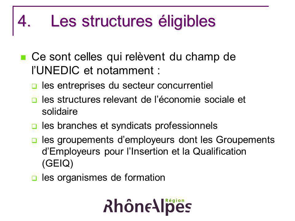 4.Les structures éligibles Ce sont celles qui relèvent du champ de lUNEDIC et notamment : les entreprises du secteur concurrentiel les structures rele