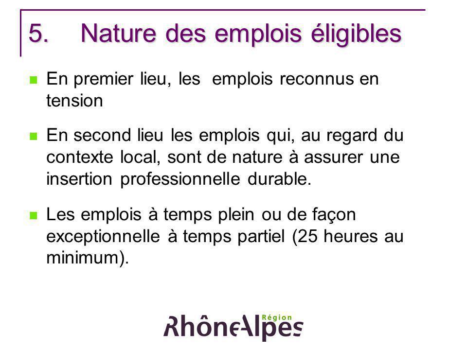 5.Nature des emplois éligibles En premier lieu, les emplois reconnus en tension En second lieu les emplois qui, au regard du contexte local, sont de n